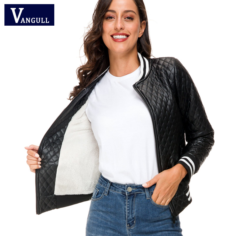 Vangull 2019 New Women Winter Fleece Liner Jacket Coat Leather Parkas Female Warm Jackets Ladies Elegant Coat PU Leather Outwear