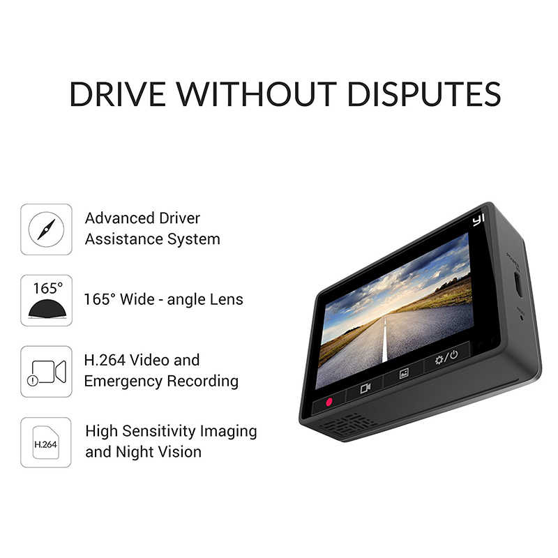 [International Edition] YI Smart Dash Camera Full HD 1080P 60fps Car DVR Dash Cam with G-Sensor Night Vision ADAS Registrator