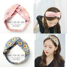 Женская винтажная повязка на голову в полоску с цветочным принтом