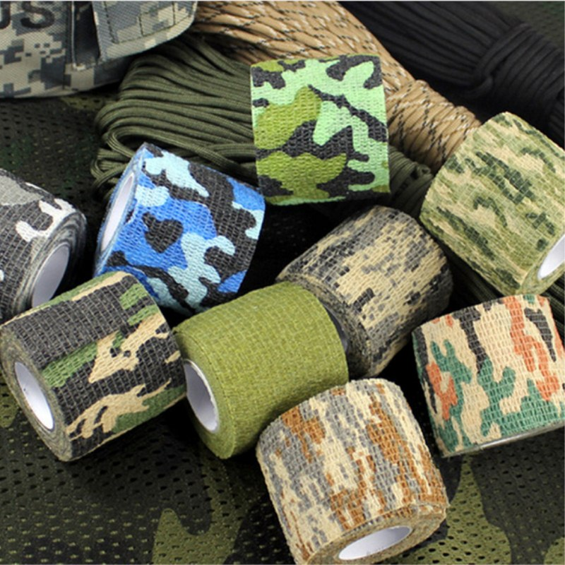 New 5CM x 4.5M Camouflage Camo Elastoplast Adhesive Bandage Wrap Stretch Self Adherent Tape for Wrist Ankle Slices Sports Safety ttgtactical tactical self adhesive camouflage tape elastic camouflage cloth tape 150x30cm hunting rifle protective camo tape
