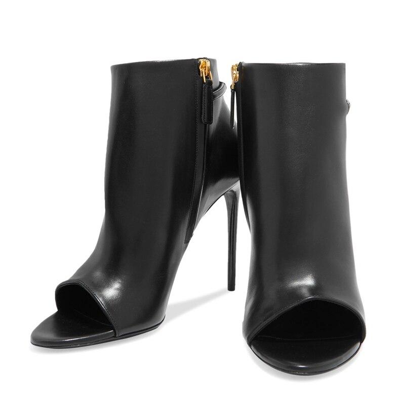 Nouvelle Europe a0175 Haute Super En Chaussures Peep Noir Marque Mince Bottes Cheville Toe Party Tl Cuir Talon Chaussons D'été Femmes rrHASdfxq
