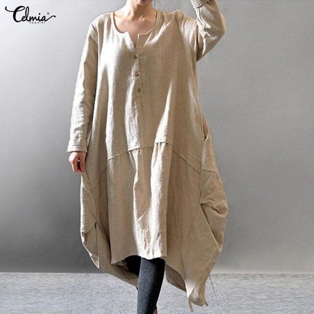 477d81f258 Oversized Women Linen Dress Asymmetric 2018 Celmia Autumn long Sleeve  Button Casual Vestido Vintage Baggy Dress