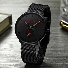 Модные Водонепроницаемый часы для Для мужчин тонкий кварцевые Для мужчин смотреть Лидирующий бренд CRRJU Повседневное Бизнес Для мужчин s наручные часы мужской часы Новый