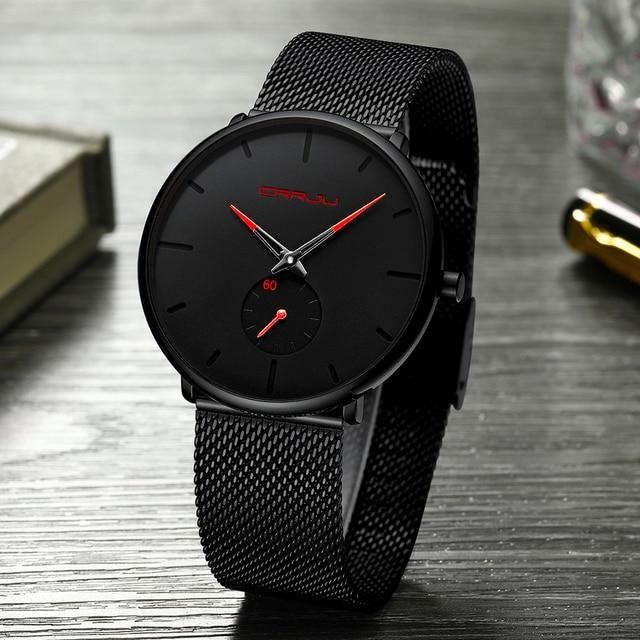 Fashion Waterproof Watches For Men Slim Quartz Men's Watch Top Brand CRRJU Casua