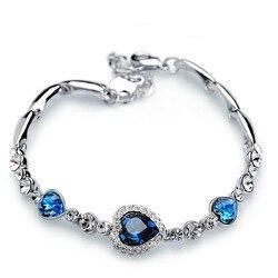 1 шт Элегантный женский 925 серебряный браслет в форме сердца, браслет в форме сердца океана, сердце в форме сердца, циркониевый Кристальный б...