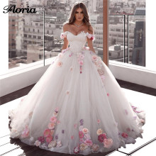 Floria Luxury Flower Appliques Wedding Dresses Bridal Gowns
