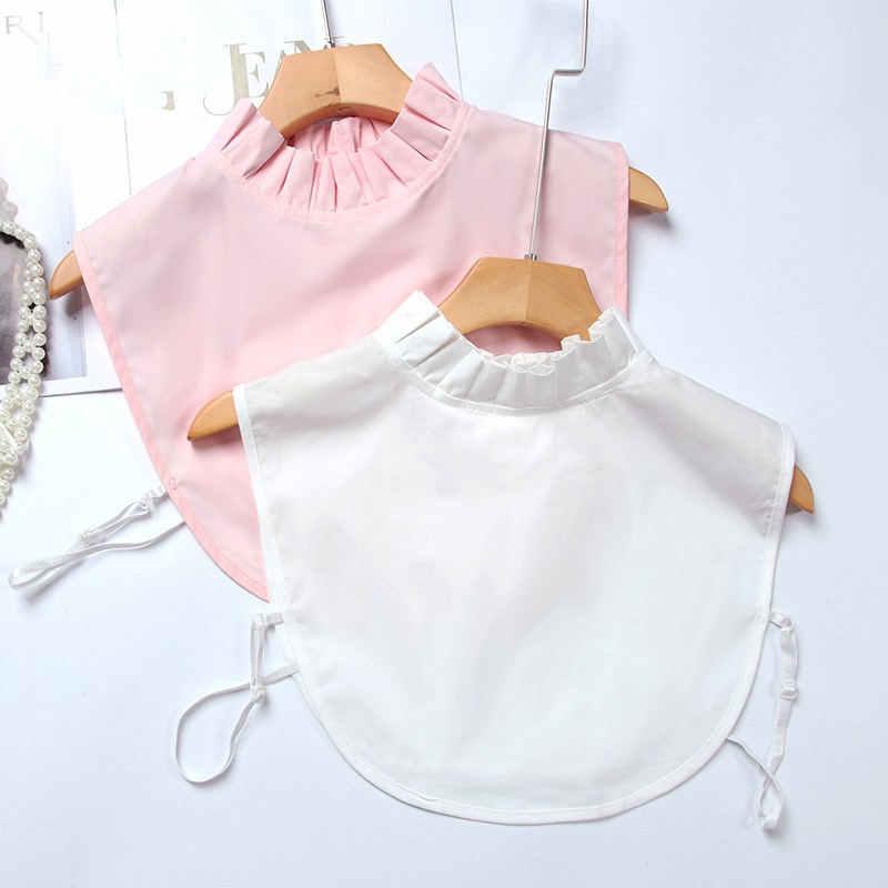 Белая рубашка с имитацией воротника, женская блузка с имитацией воротника, рубашка, Женские повседневные топы, уличная одежда, розовый искусственный воротник, Q1148