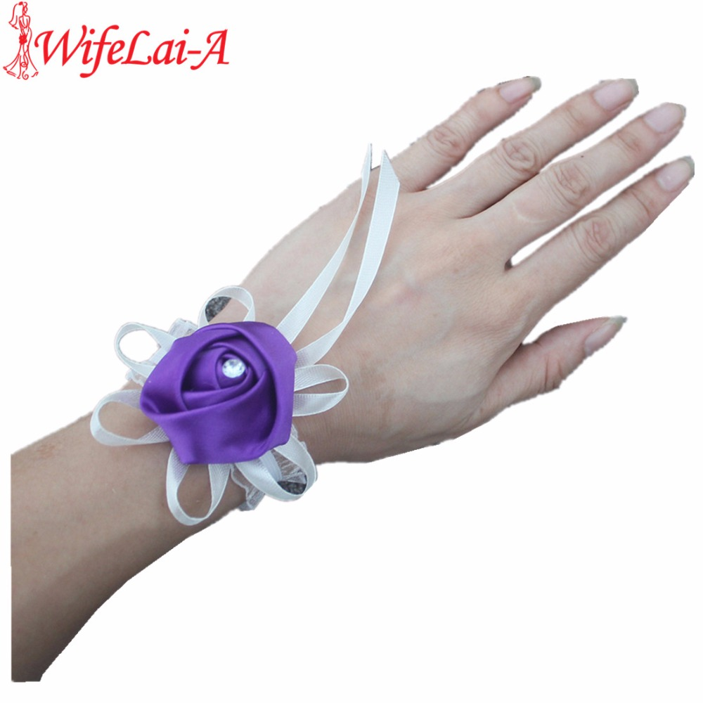 Silk Rose Flower Wedding Corsages Boutonniere Wedding Ribbon Wrist Flowers ACCEPT CUSTOM Drop Shipping SW0900