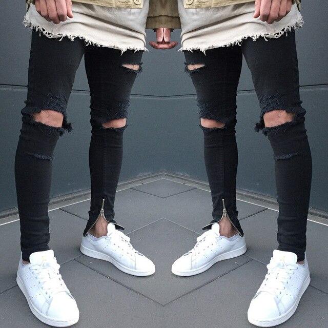 3a1723af72d00 Déchiré Genou Glissière Latérale Hommes Jeans De Mode Hip Hop Urbain Hommes  Moto Pénible Biker Slim
