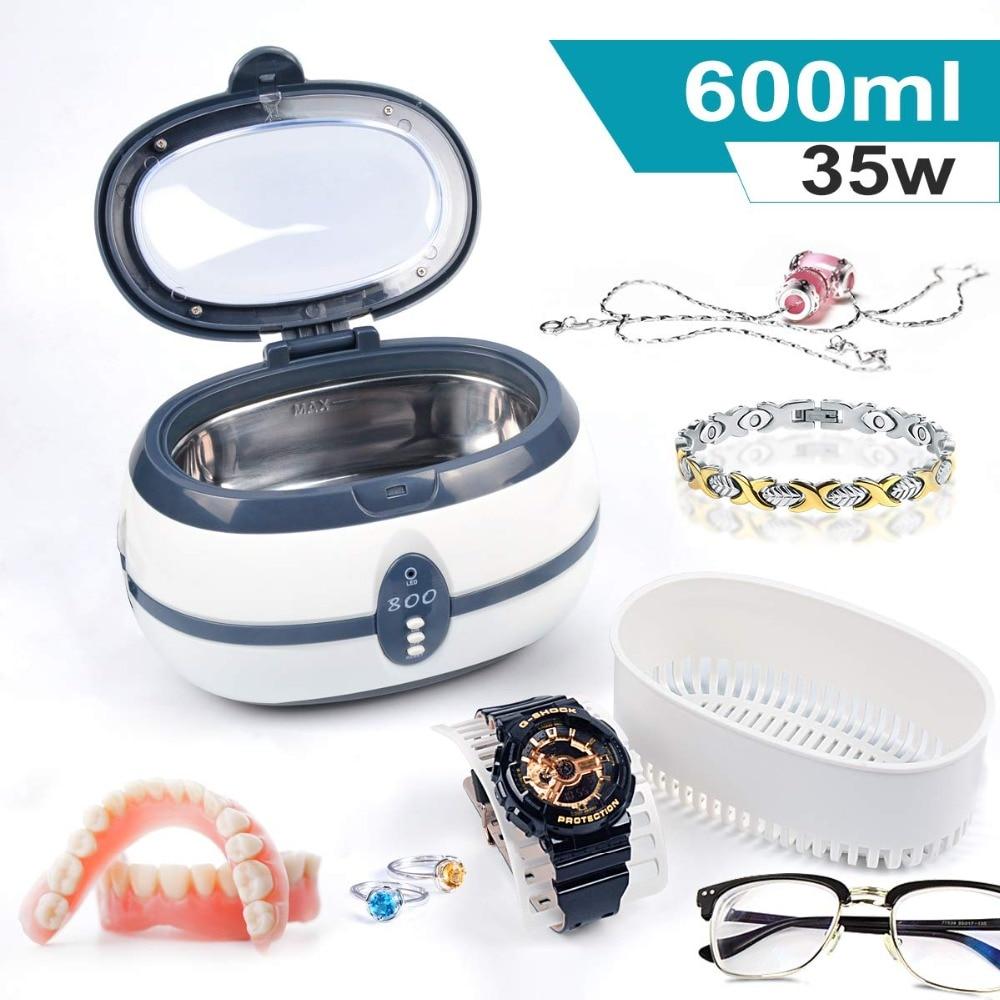 GTSONIC VGT 800 Ultrasonic Cleaner 600ml 35W for Necklace Earrings Bracelets Dentures Household Ultrasonic Baths