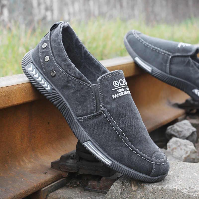 2020 degli uomini di scarpe da tennis piane degli uomini di scarpe di tela Denim scarpe estive Traspirante Casual Scarpe Mocassini Chaussure Homme FORMATO 38 - 45