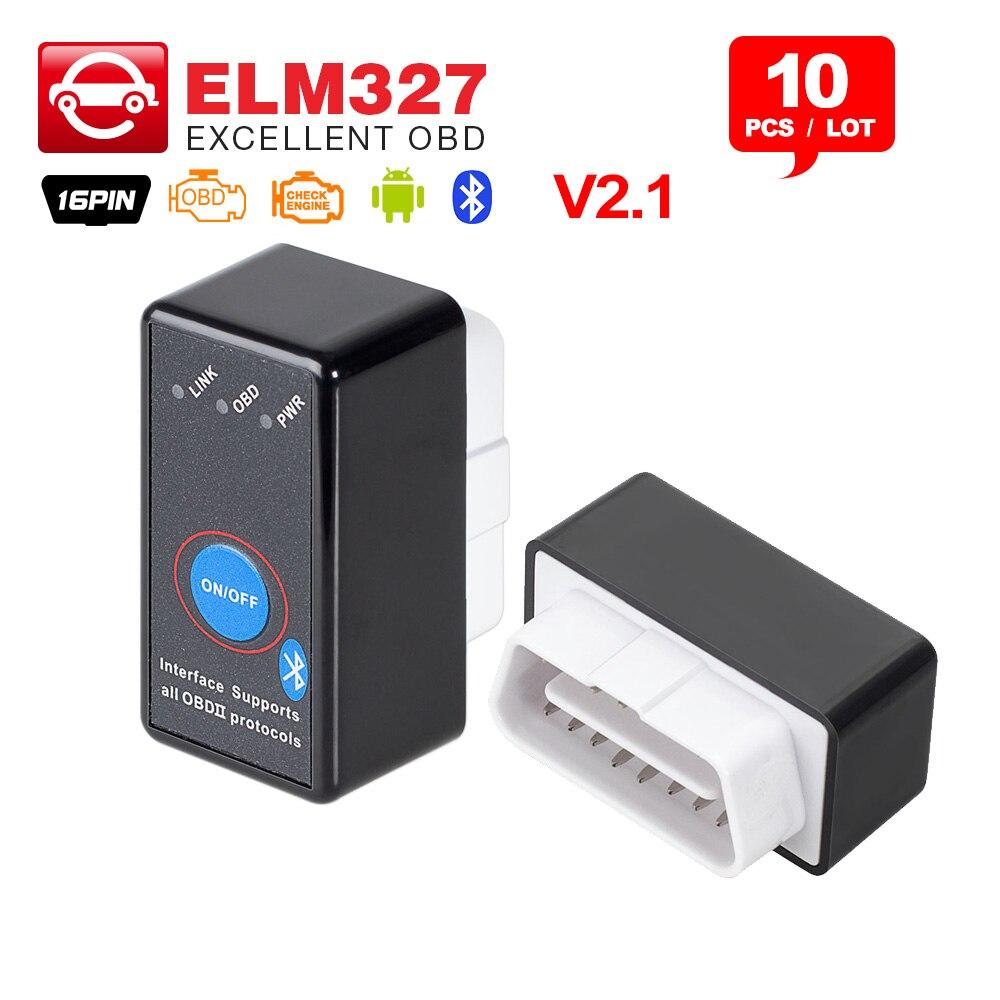10 Stücke Super Elm327 V2.1 Bluetooth Schalter Mini Ulme 327 Obd 16pin 12 V Auto Codeleser Auf Android/pc Obdii Obd2 Diagnosewerkzeug