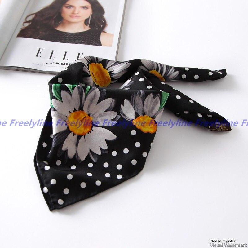 Women Floral Print 100% Silk   Scarf   Neckerchief Bandana Fashion 100% Silk Twill   Scarves     Wraps   Autumn Winter Clothing Accessories