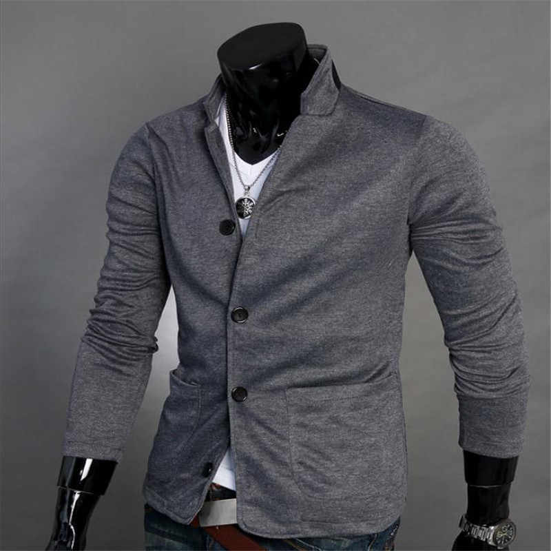 European and American Men's Casual Stand Collar Suit Jacket Gray and Black Single-breasted Collar Knit Cotton Fashion Casual XXL