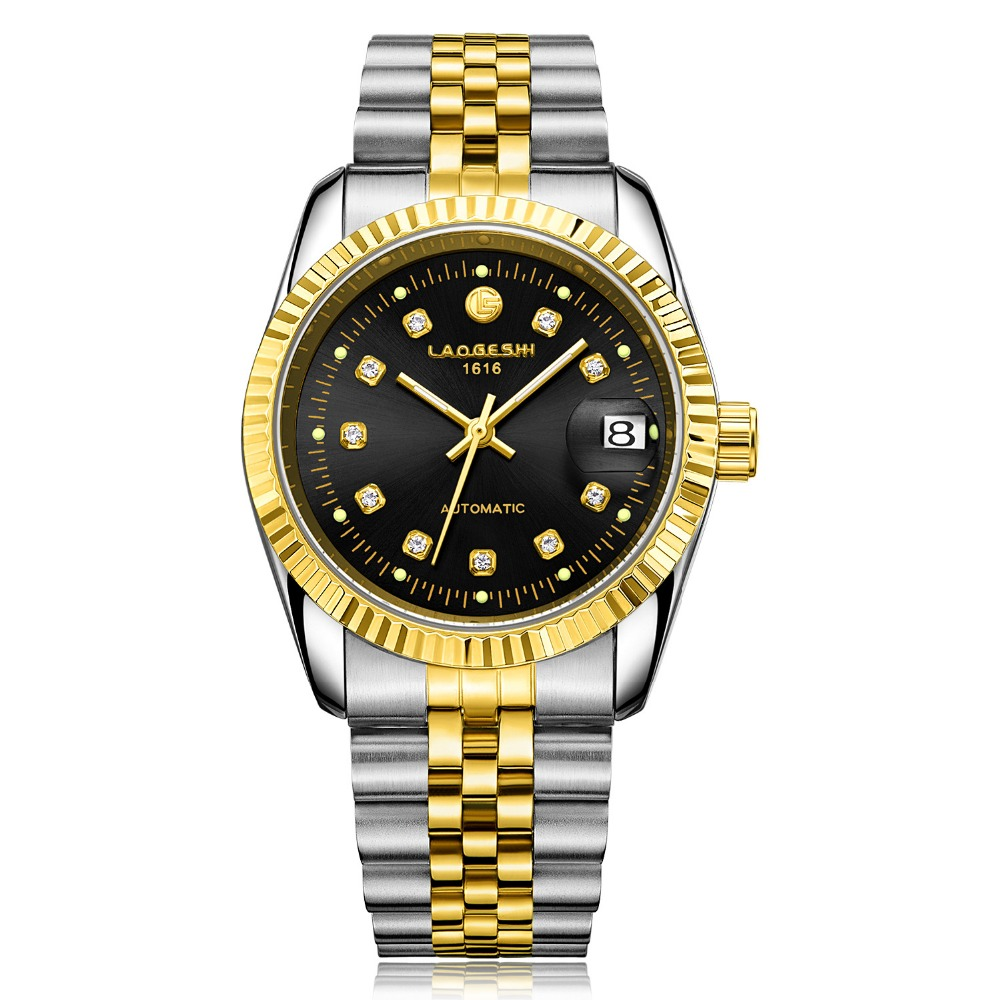 Relogios New Luxury Brand Dress Steel Strap watch men Waterproof Calendar Automatic Mechanical Watches Gold Clock Relojes carnival classic dress men automatic mechanical watches full steel waterproof gold watch calendar fashion men clock montre homme