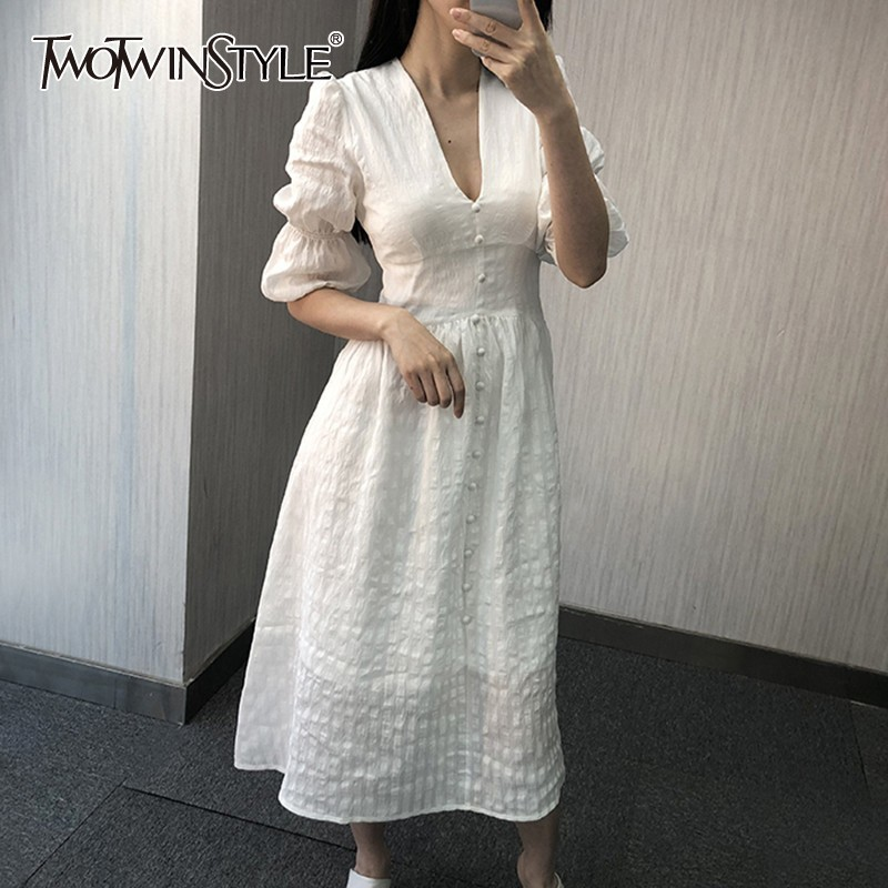 TWOTWINSTYLE Vintage Solid Women Dress V Neck Puff Sleeve High Waist Button Midi Deresses Female Elegant