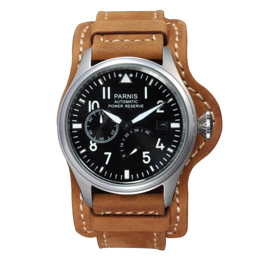 47mm parnis black dial luminous power reserve sea-gull 2530 movement adjust date automatic mens watch P98 все цены