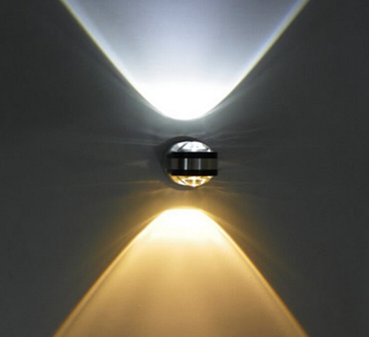 2x3 w haut/bas éclairage 6 w mur Led lampes blanc/blanc chaud/rouge/bleu/vert aluminium Led spot lampes pour fête/KTV/Bar/maison