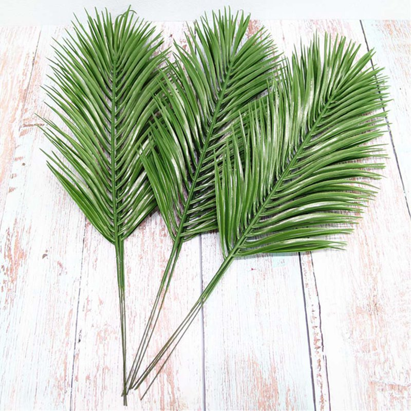 Artificial Iron Leaves Palm Tree Green Leaf Plants Plastic Potted Bonsai Leaves Garden Home Wedding Table Ornaments Decoration(China)