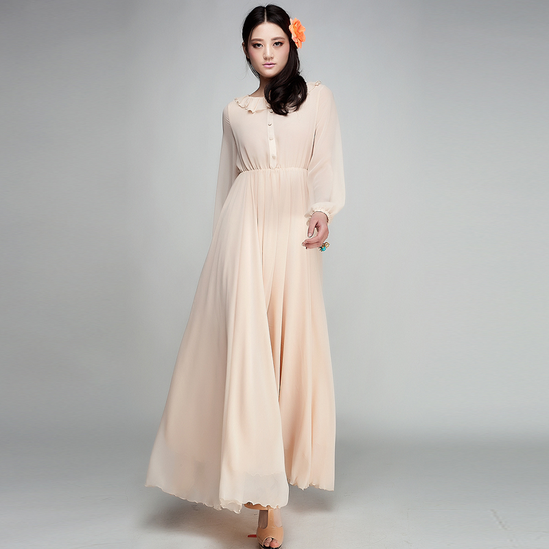 Online Get Cheap Maxi Chiffon A Line Dresses Long Sleeves ...
