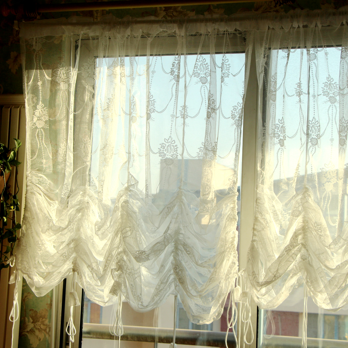 American Pastoral Lace Sheer Curtains Window Decoration Tulle For Living  Room Rope Door Curtain Romantic Gardinen  In Curtains From Home U0026 Garden On  ...