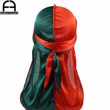 Durag unisexe deux tons en soie pour hommes, couvre-chef Bandana soyeux avec couture à l'extérieur, chapeau ondulé, Turban, longues bretelles