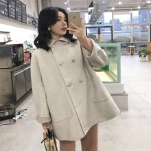 цена на Women's Coat Wool Blend Jacket Loose Lapel Cuffs Can Be Flipped Big Pocket Cashmere Jacket Casual Autumn Winter Elegant Jacket