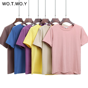 WOTWOY 2020 Summer Cotton T Shirt Women Loose Style Solid Tee Shirt Female Short Sleeve Top Tees O-Neck T-shirt Women 12 Colors(China)