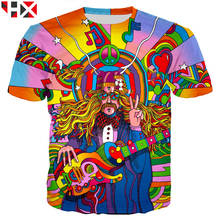 b35bfaf0 HX Newest Summer Fashion Hippie Musician T Shirt 3D Colorful A Groovy  Hippie Unisex Tops H045