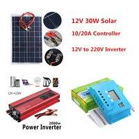 2000W 12V Inverter with 30W Solar Panel 10A 20A Controller 12v 220v Converter DC 12 v to 220v Veicular Car Power Inverter