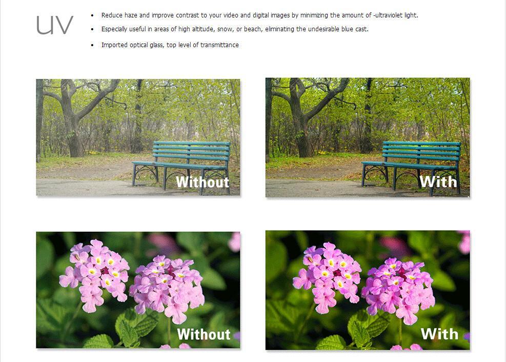 UV CPL FLD ND2 ND4 ND8 Lens Camera Filter Kit(52 58 62 67 72 77mm)+Lens Hood+Lens Cap+Cloth For Canon for Nikon for Sony etc. 11