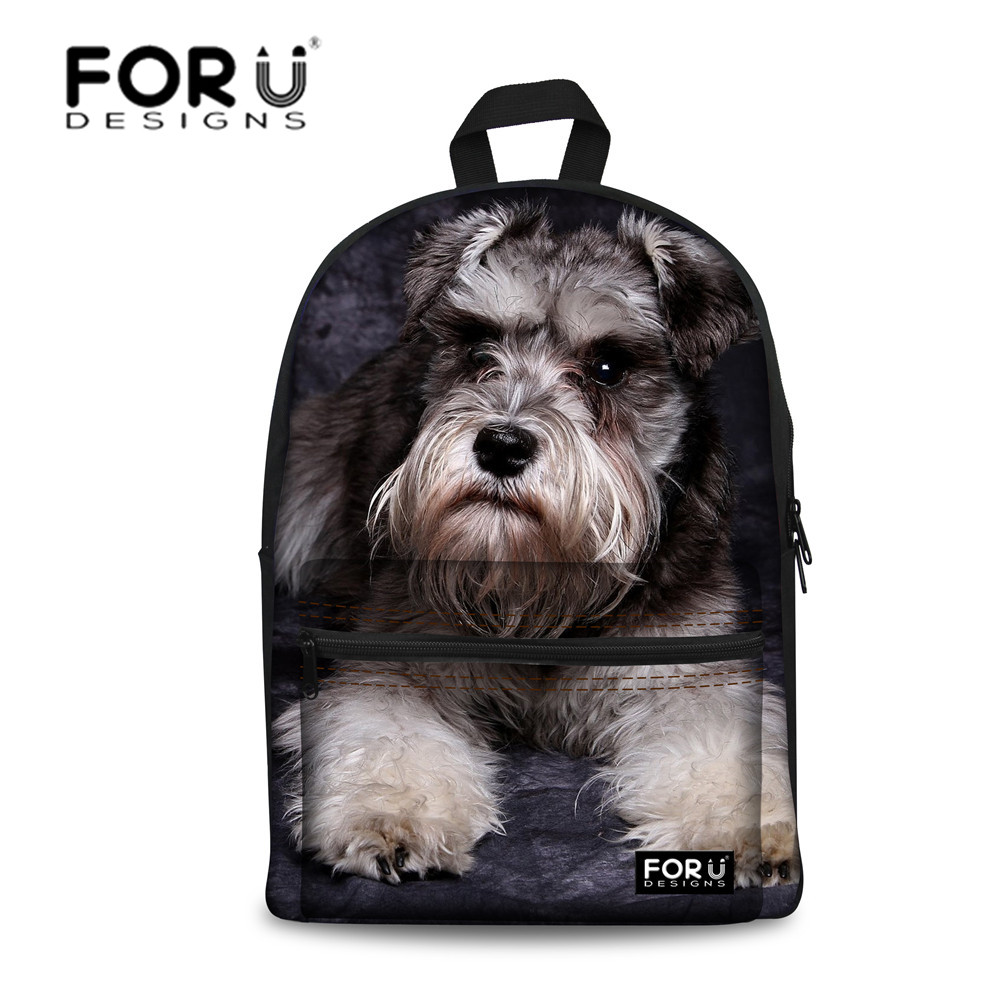 FORUDESIGNS School Bag Backpack Schoolbag for Girls Cute Schnauzer Printing Backpacks for Teenager Students Bags Mochila Escolar 2018 girls last tour backpack shoujo shuumatsu ryokou schoolbag for middle school students