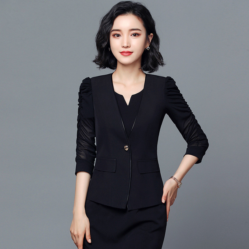 Simple Button Turn down Blazer Coat Women Ruched Half Sleeve Black Blazer Cool Slim Spring Autumn Ladies Outerwear White