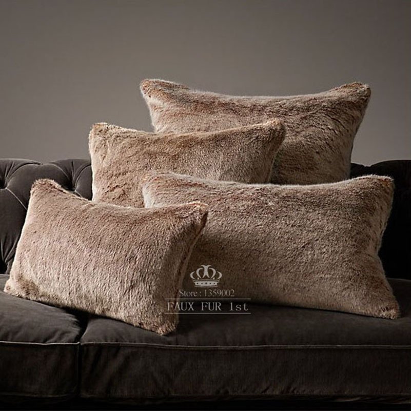 Faux Fur Pillow And Throw Set.Luxe Faux Fur Pillow Covers Lynx Wolf Cushions Home Decor