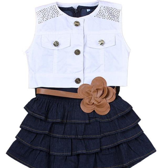 bbd86a5d0 2pcs set Kids Girls set Denim T shirt dress white jackets girls vest ...