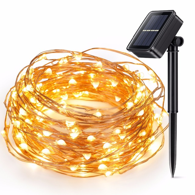 Kohree Solar String Lights, 10m100leds Cooper Wire Lamp Holiday Led Lighting for Christmas Wedding Party Outdoor Garden Decor