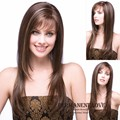 Heat Resistant Synthetic brown hair blonde highlights long layered Wigs with bangs natural Straight wigs for white Women ladies