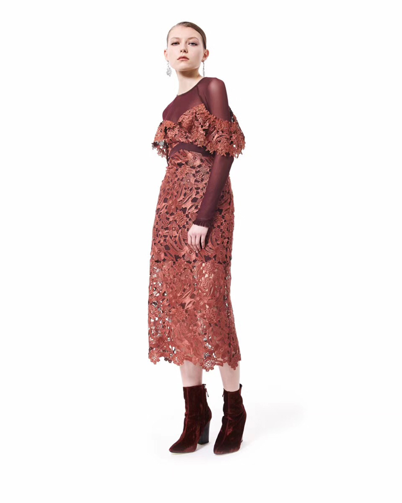Robes Cou Maxi Dentelle Femmes Orangered O Bohofree Creux Floral Longue Piste Out Même Patchwork Boho Robe Vacances Meash tCQrxdBsh