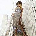 Vestido bohemio Vestido de Las Mujeres Sin Mangas Backless Atractivo Estampado floral Moda Seaside Vacaciones Vestidos de Bata