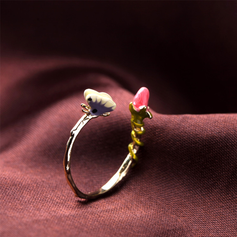 Drip Glaze Luxury Cute Lovely Fresh Lady Ring Personality Female Girls Finger Adjustable Open Ring Fashion Jewelry Accessories