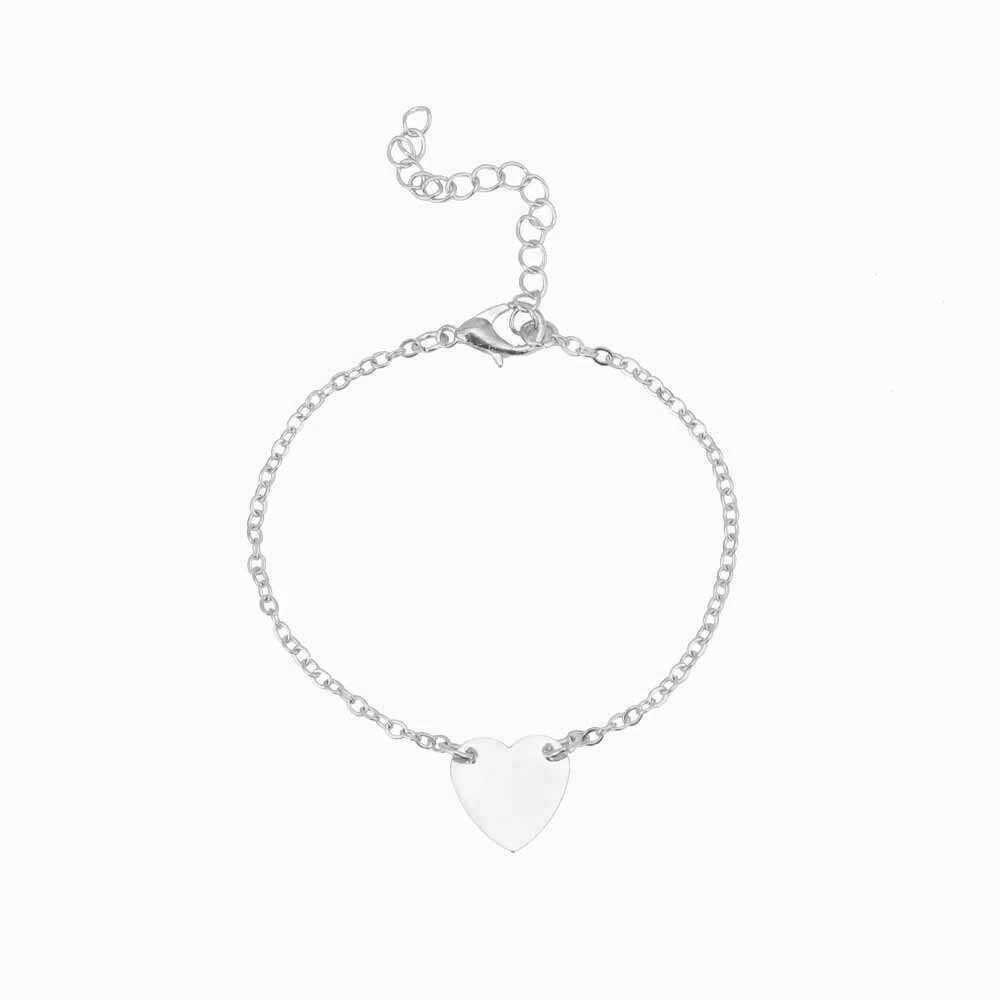 Gorąca sprzedaż delikatny drobny miłość serce Charm bransoletki dla kobiet proste złoto srebro kolor uroczy bransoletka z serduszkiem komunikat biżuteria