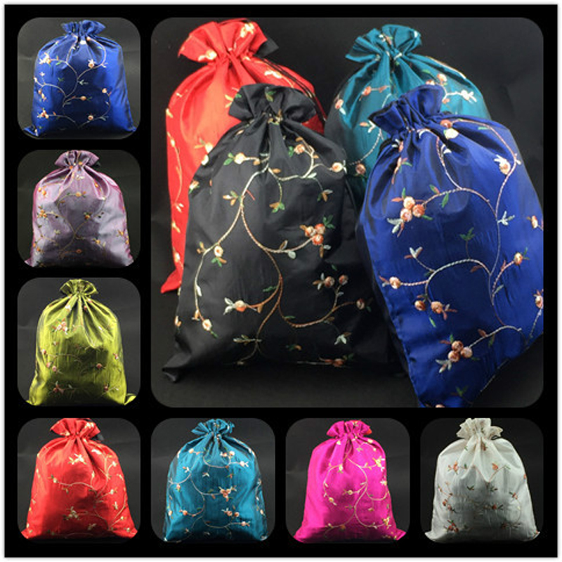 Wholesale 5pcs Fashion Chinese Style Handmade Silk Embroidered Jewelry roll Bags Pouch