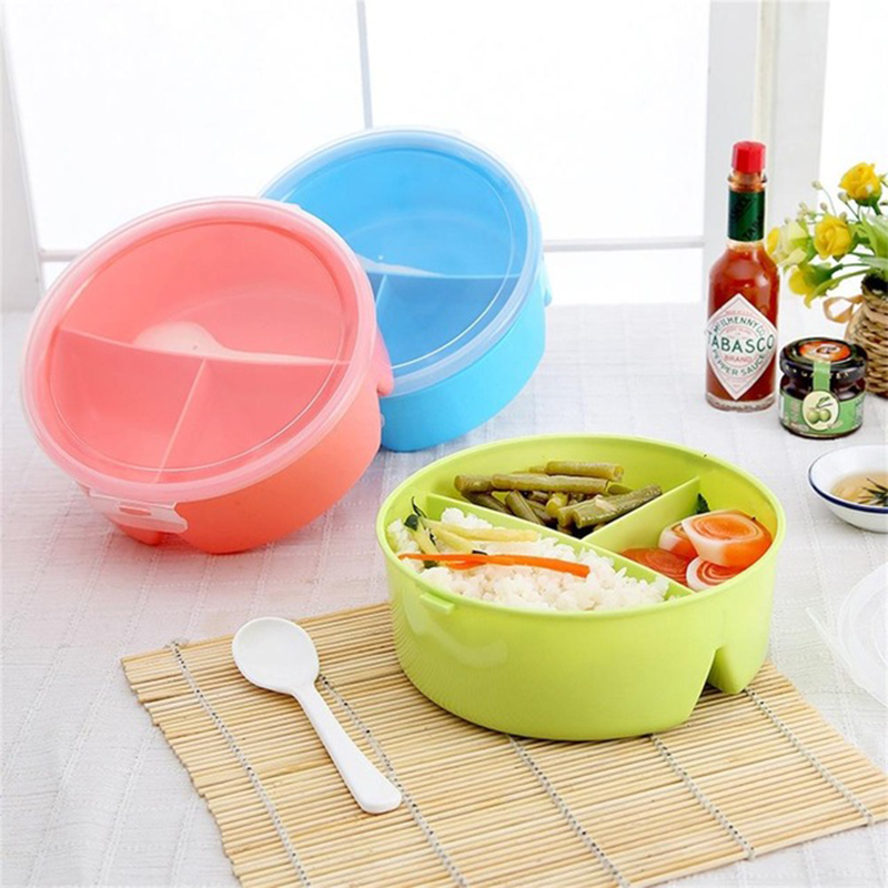 Portable Microwavable Round Lunch Boxes for Kids with 3 Partition Grids Picnic Bento Food Container Storage with Spoon