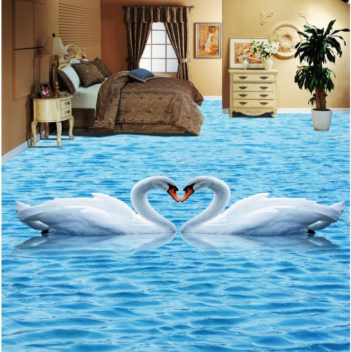 Custom 3d floor murals 3d stereoscopic floor wallpaper white crane self-adhesive waterproof PVC wallpaper 3d floor tiles