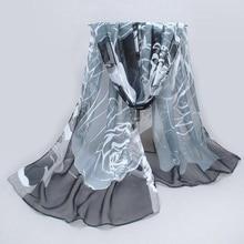 Long Shawl Print Scarves Cape Silk Chiffon Tippet Muffler