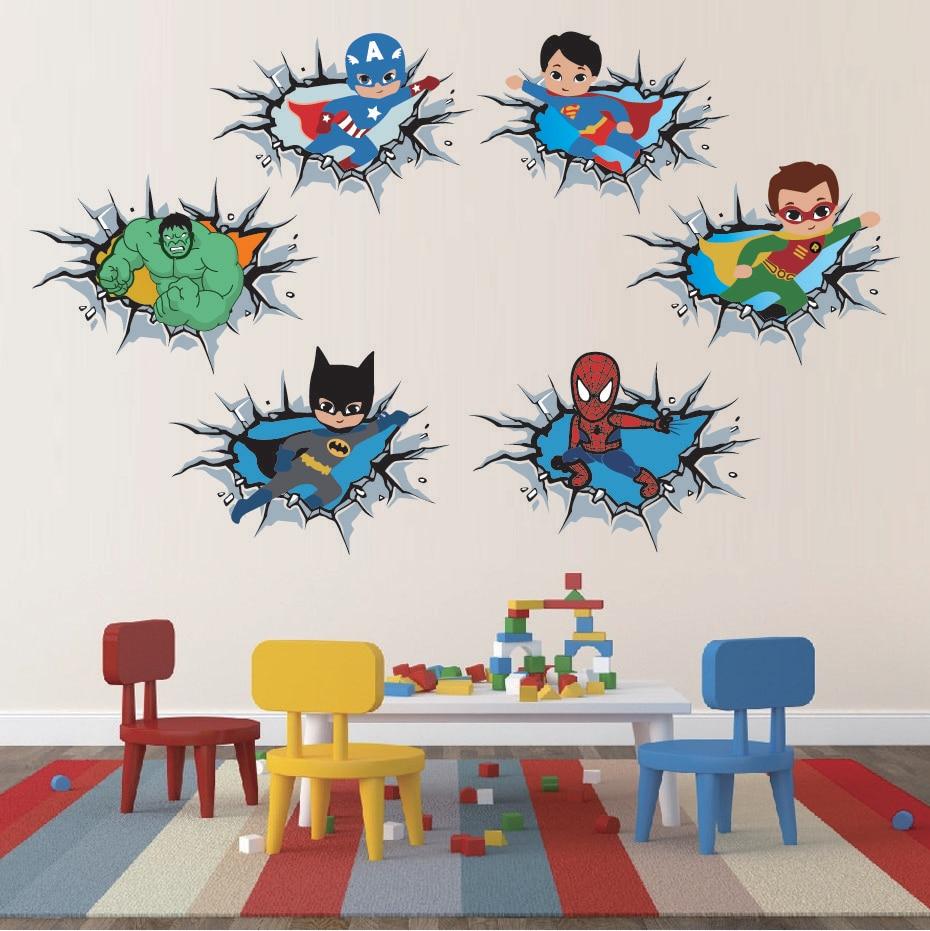 Superhero Batman Super-man ABC Alphabet Wall Sticker Decal Baby Kids Room Mural