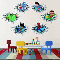 Children's Cartoon Hero Hulk Captain Break the Wall 3D Sticker Super Hero Decals for Kids Room Door Home Decor Art Vinyls Mural