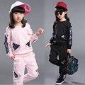 Roupas meninas outono novo terno dos esportes das crianças 2016 criança lantejoulas bordados twinset lazer crianças terno ajustado para meninas traje