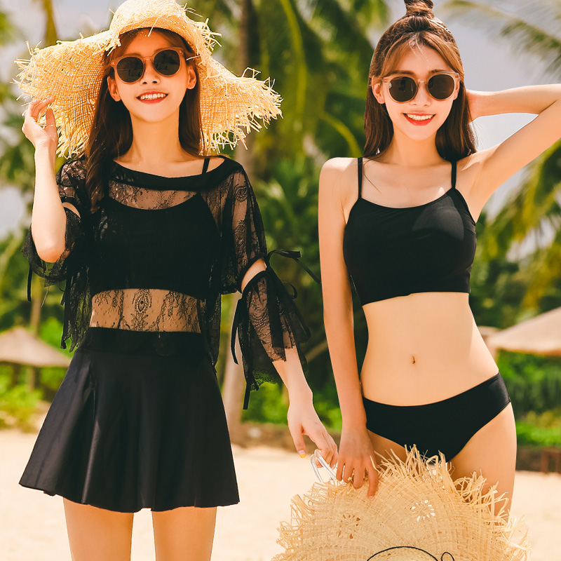 ECCP Sarong bikinis Women Black Bandage Swimsuit 2018 Sexy Push Up Swimwear Low Waist bathing suit cover ups Swim strand jurkjes