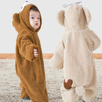 Winter Cute Bear Hooded Baby Rompers Babies Boys Girls Clothes Newborn Clothing Brands Jumpsuit Infant Warm Costume Outfit